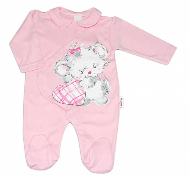 Baby Nellys Bavlněný kojenecký overal Mouse Love - růžový, vel.