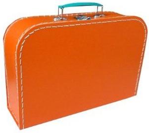 KAZETO Kufr dětský oranžový 30x21x10cm šitý lepenkový