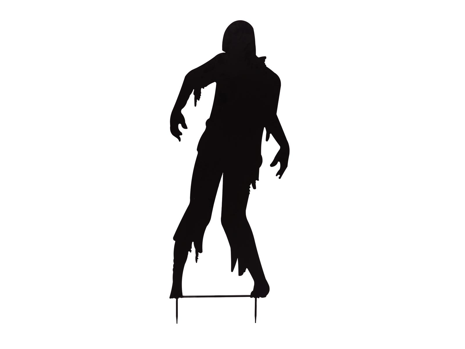 Kovová silueta zombie muže, černá, 135cm