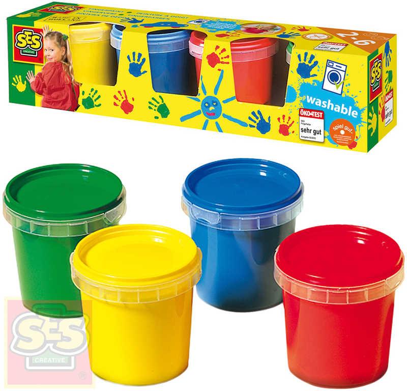 SES CREATIVE Baby barvy prstové set 4x150ml malování prsty