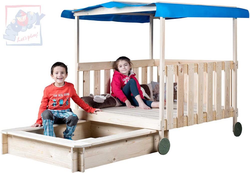 WOODY DŘEVO Odpočívadlo dětské + zásuvné pískoviště 2v1 na kolečkách