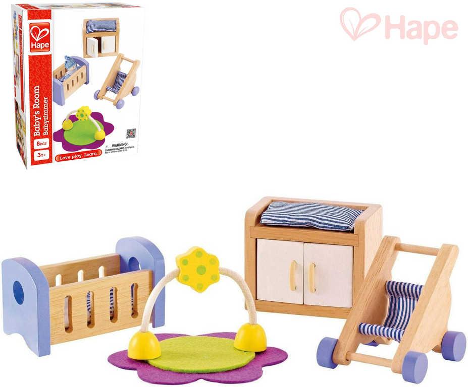 HAPE DŘEVO Mimi pokojíček herní set nábytek s doplňky 8 dílků *DŘEVĚNÉ HRAČKY*