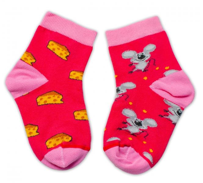 Baby Nellys Bavlněné veselé ponožky Myška a sýr - tmavě
