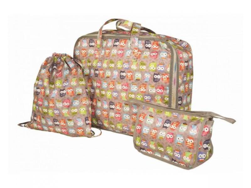 My Bags - Cestovní set 3 v 1 se sovičkami