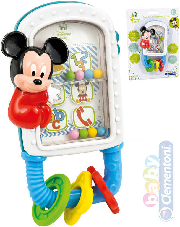 CLEMENTONI Baby chrastítko telefon Mickey Mouse kousátko pro miminko plast