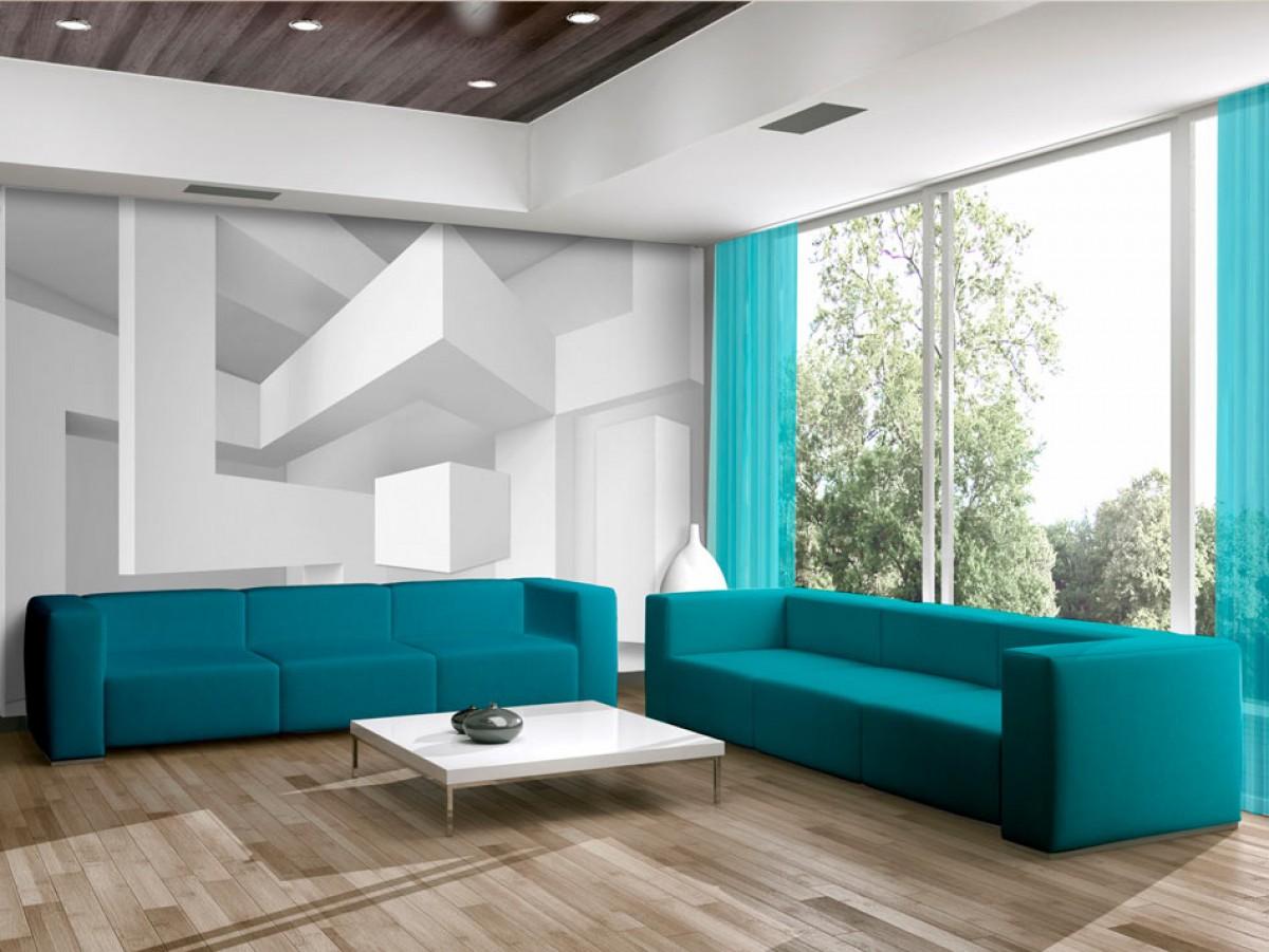 3D tapeta Bílá geometrie