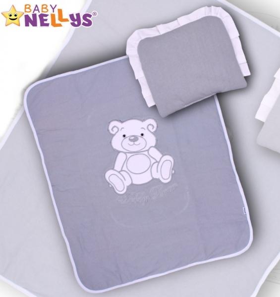 Baby Nellys 2-dílná sada do kočárku jersey Medvídek Teddy Bear - šedá