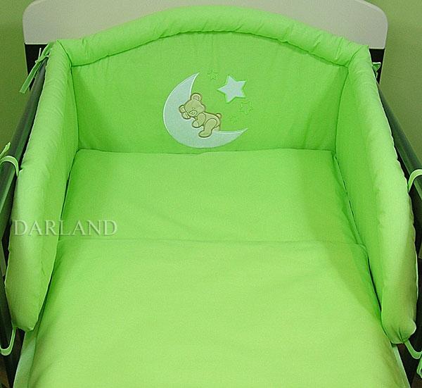 Mantinel s povlečením lux Darland - Medvídek na měsíčku 140 x 70 - zelená - 140x70