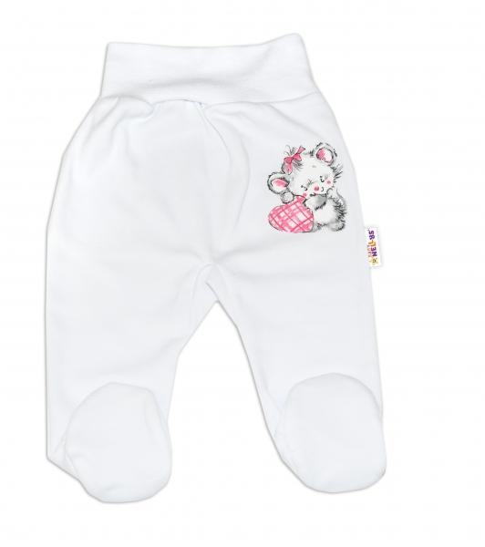 Baby Nellys Bavlněné kojenecké polodupačky, Little Mouse Love - bílé, vel. 80 - 80 (9-12m)