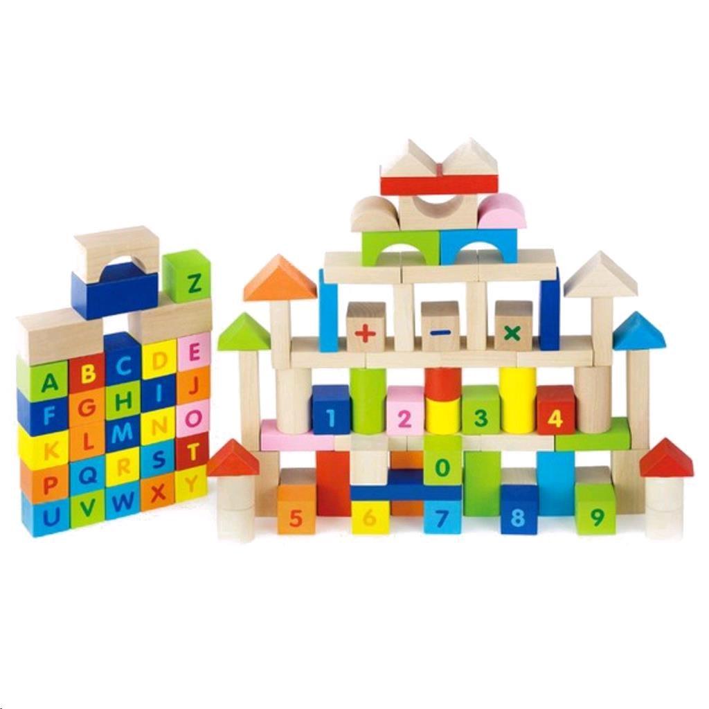 Dřevěné kostky pro děti Viga Písmenka a čísla 100 dílů - multicolor