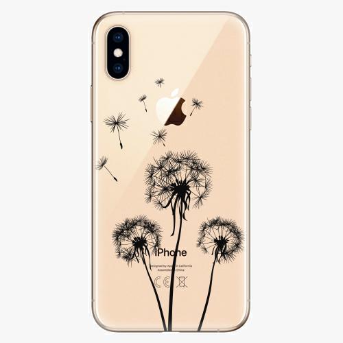 Silikonové pouzdro iSaprio - Three Dandelions - black - iPhone XS