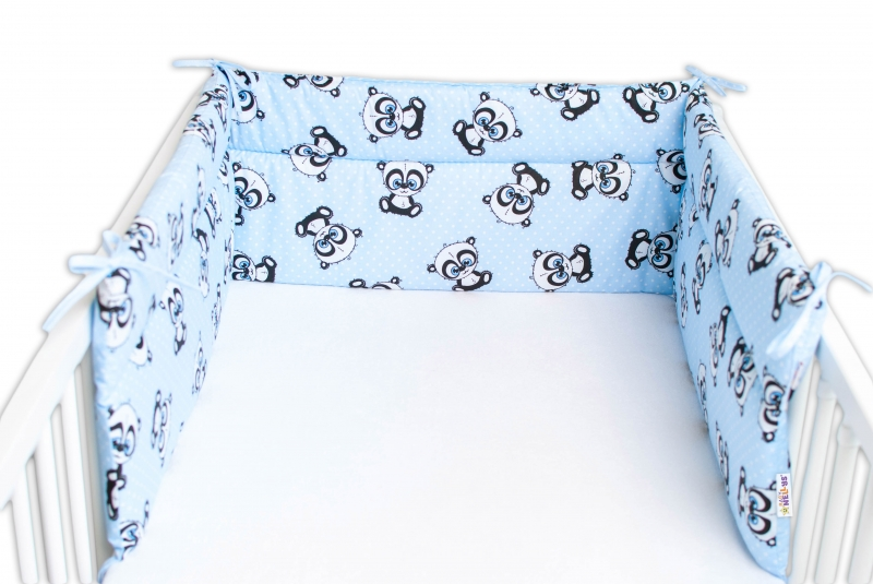 Baby Nellys Mantinel do postýlky 180x30 cm, Panda Mini - modrý