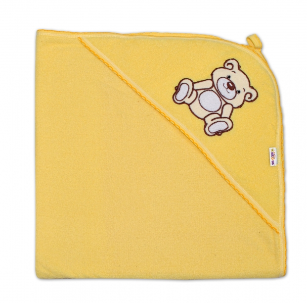 Dětská osuška Teddy Bear s kapucí, roz. 80 x 80 cm - krémová,žlutá