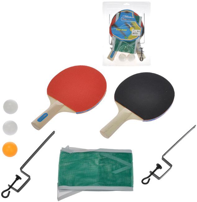 Sada na stolní tenis ping pong set dvě pálky 25cm se síťkou a doplňky