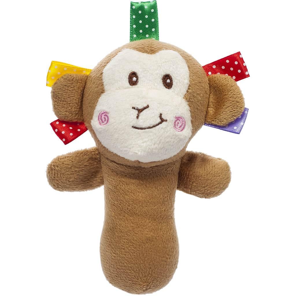 Plyšová hračka s pískátkem Akuku opice - hnědá