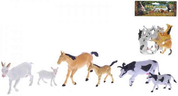 Zvířátka domácí 6-16cm set matka a mládě 6ks v sáčku plast