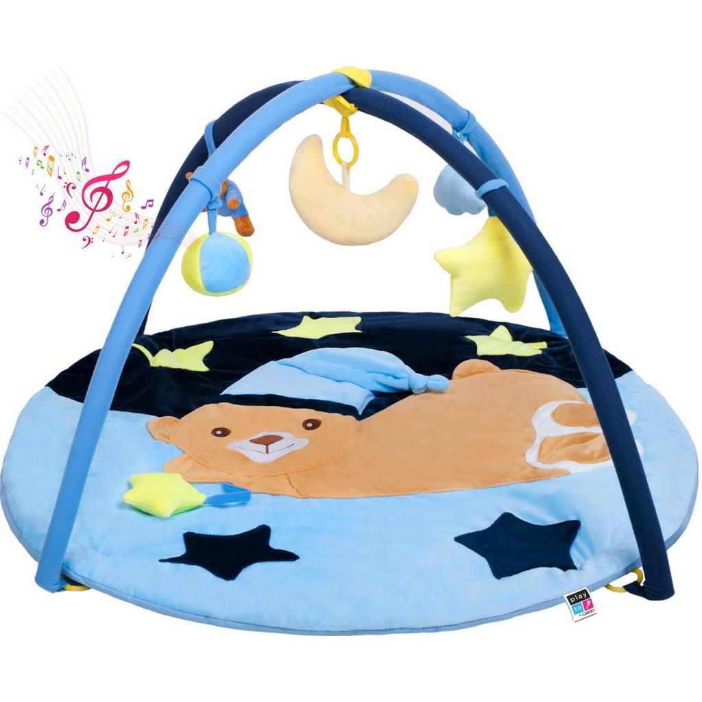Hrací deka s melodií PlayTo spící medvídek - modrá