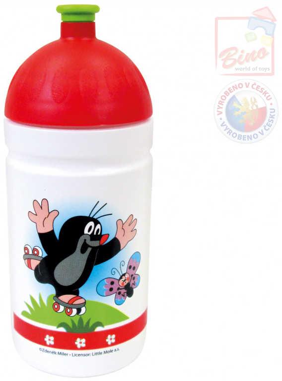 BINO Láhev na pití 19cm bílá pro děti zdravá Krtek (Krteček) český výrobek