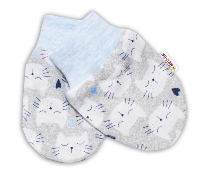 Kojenecké rukavičky Baby Nellys ® - Kočičky - sv. modrý lem - 56 (1-2m) /62 (2-3m)