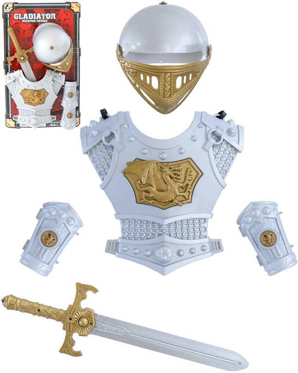 Gladiator sada brnění s mečem a přilbou set 5ks na kartě plast