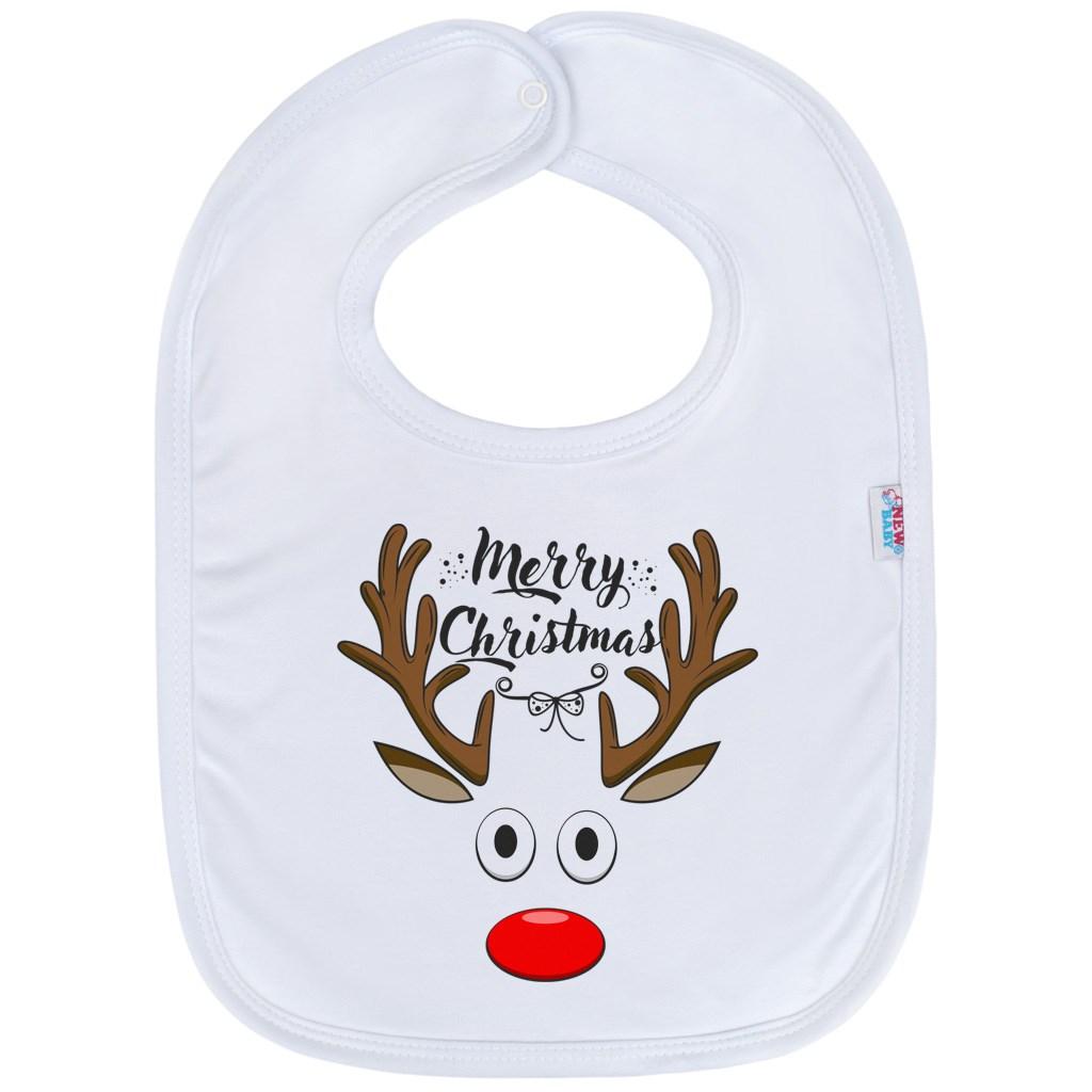 Kojenecký bavlněný bryndák New Baby Merry Christmas - bílá