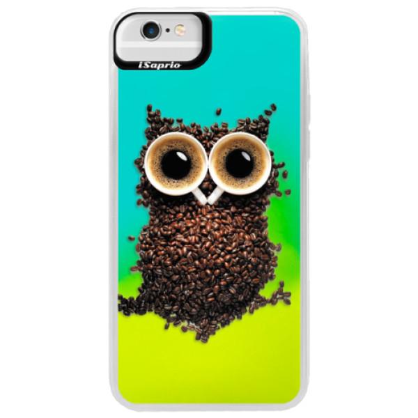Neonové pouzdro Blue iSaprio - Owl And Coffee - iPhone 6 Plus/6S Plus