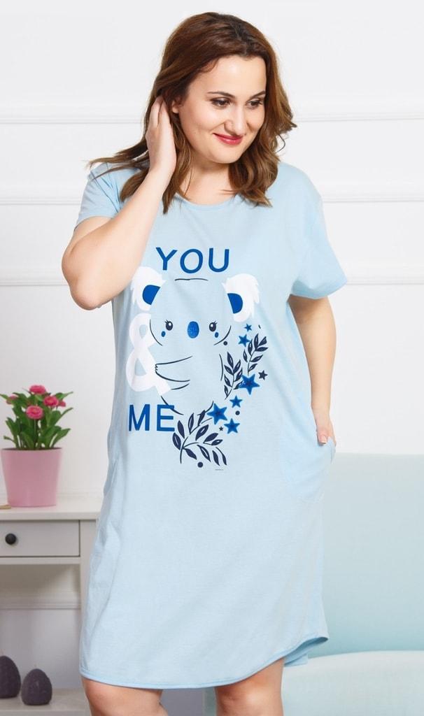 Dámské domácí šaty s krátkým rukávem Koala - světle modrá