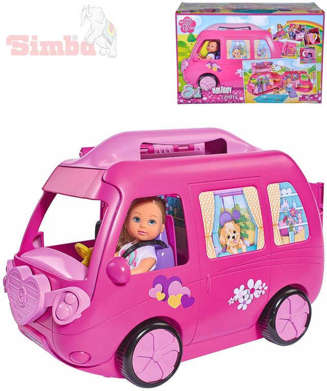 SIMBA Panenka Evička 12cm set s obytným vozem a doplňky 40ks plast