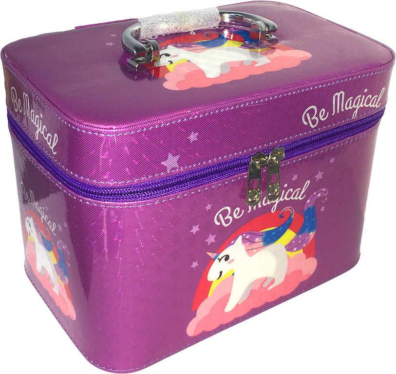 Kufřík dětský kosmetický set 3ks šperkovnice fialová jednorožec s ouškem na zip 3v1