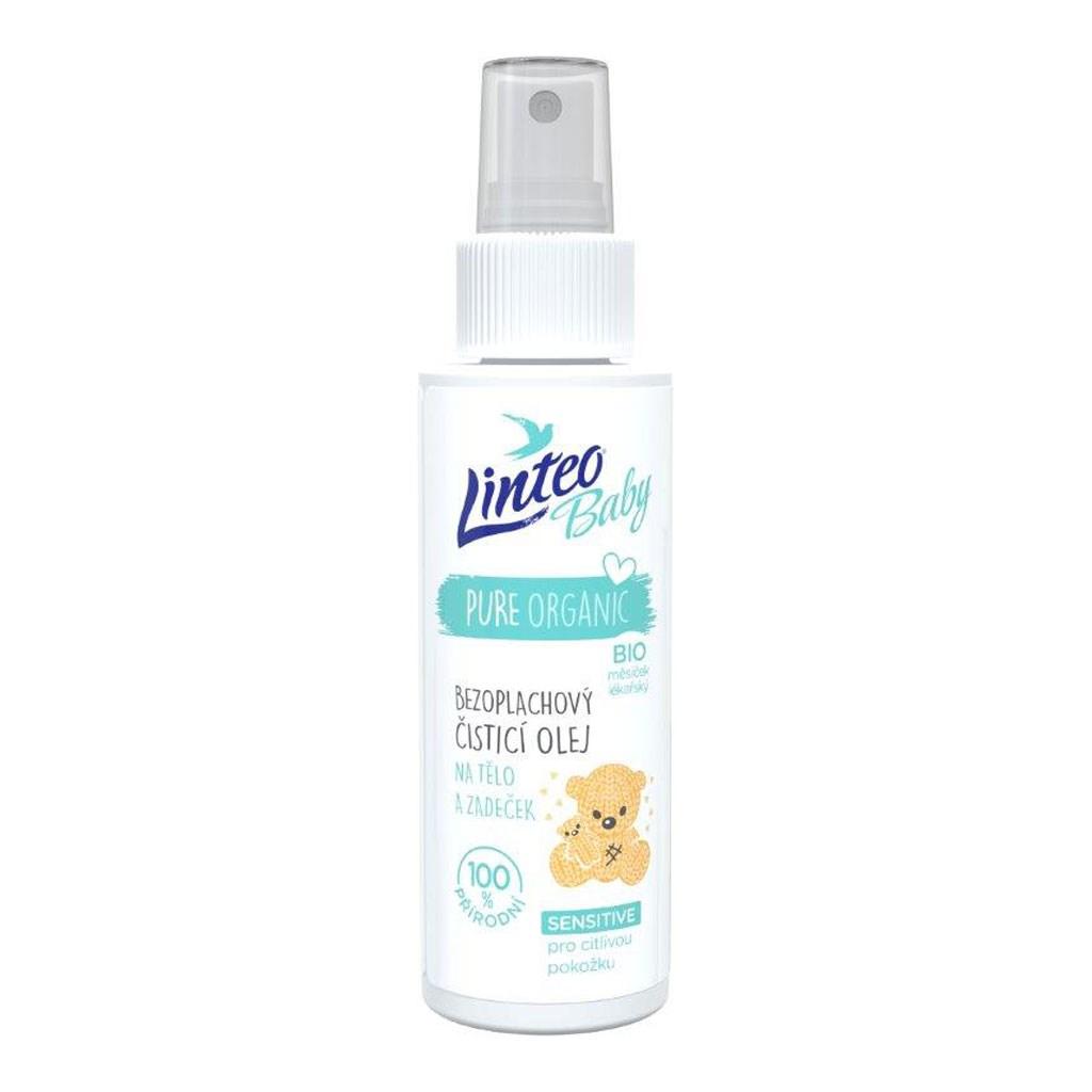 Dětský bezoplachový čistící olej na tělo a zadaček Linteo Baby 100 ml - bílá