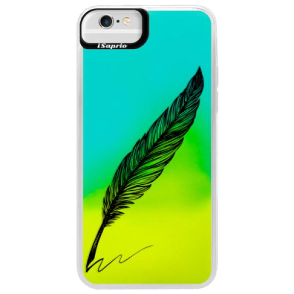 Neonové pouzdro Blue iSaprio - Writing By Feather - black - iPhone 6 Plus/6S Plus