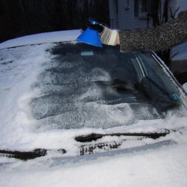 Kulatá škrabka na zamrzlá okna - Modrá