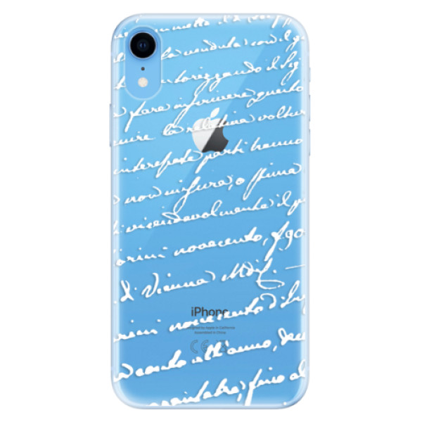 Odolné silikonové pouzdro iSaprio - Handwriting 01 - white - iPhone XR
