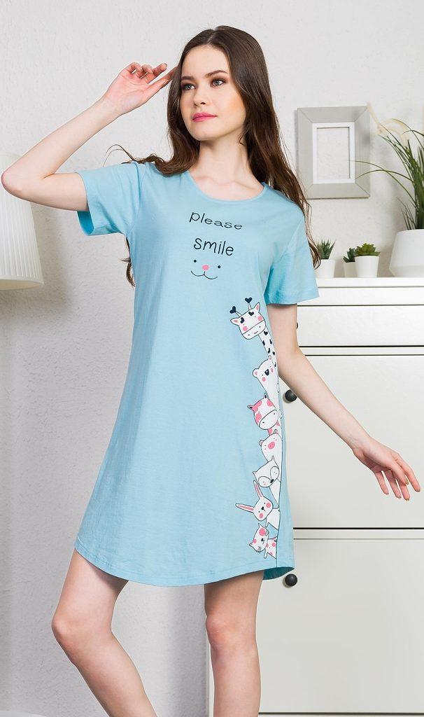 Dámská noční košile s krátkým rukávem Please smile - azurová