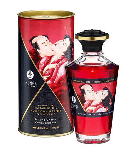 Afrodiziakální olej Shunga Kisses Cherry 100ml