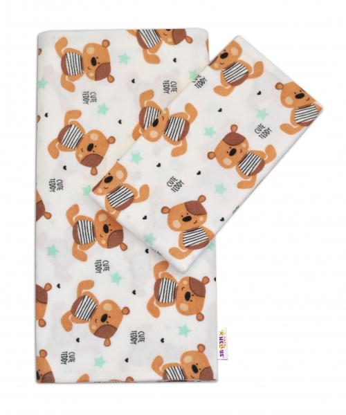 Flanelové povlečení Baby Nellys ® - Medvídek hnědý v bílé CUTE TEDDY - 120x90