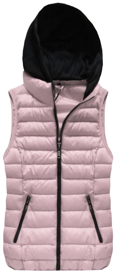 Prošívaná vesta v pudrově růžové barvě s kapucí (B2606-30)