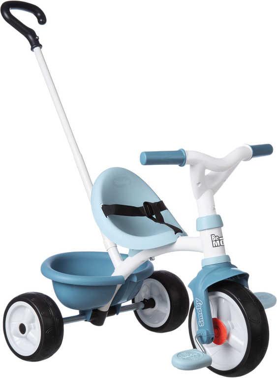SMOBY Baby tříkolka šlapací Be Move 68x52x52cm modrá s vodící tyčí 2v1