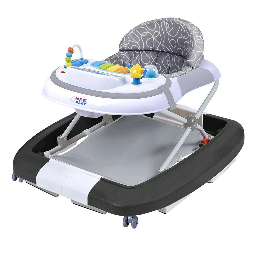 Dětské chodítko s houpačkou a silikonovými kolečky New Baby Magic Sea World - šedá