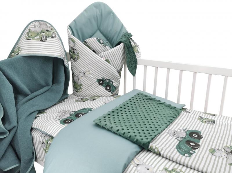 Baby Nellys 6-ti dílná výhod. sada s dárkem pro miminko, 135 x 100- Baby Car, zelená - 135x100