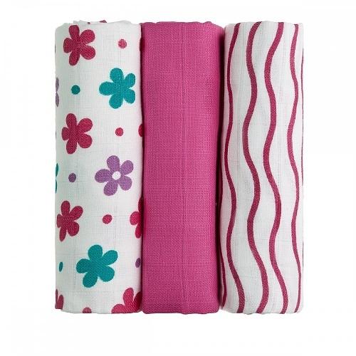 T-Tomi Dětské látkové tetra pleny LUX - Kytičky a proužky růžové