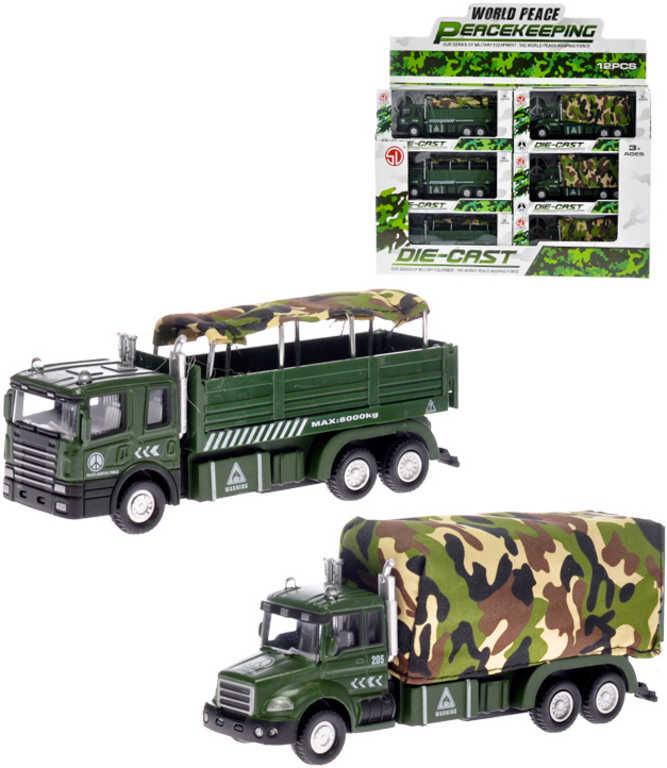 Auto nákladní vojenské kovové 15 cm na baterie - 2 druhy
