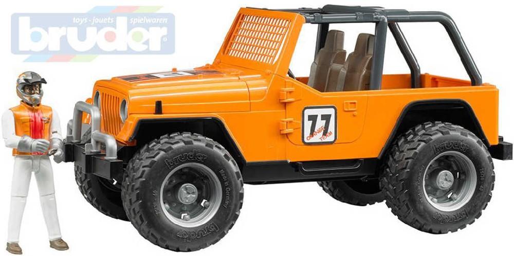 BRUDER 02542 Auto jeep terénní Cross Country oranžový set s figurkou a doplňky