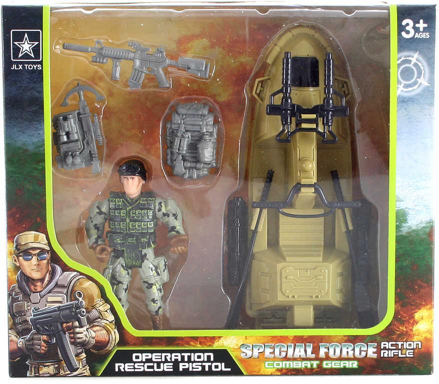 Vojenský army set figurka voják s vodním skútrem a doplňky plast