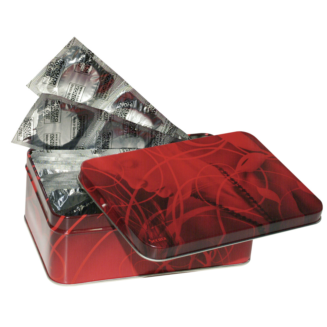 50 kondomů v plechové krabičce