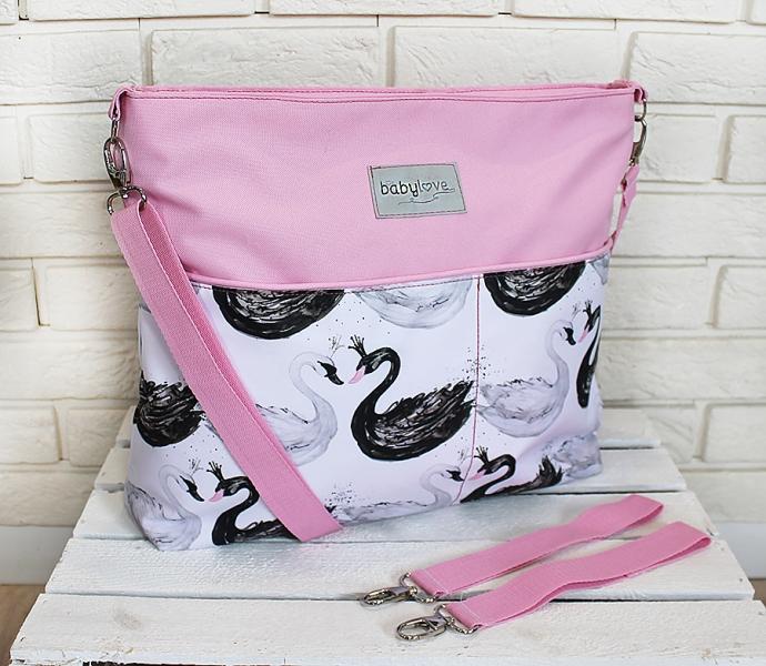 Stylová taška na kočárek Baby Nellys Hand Made - Labutě - růžová, Ce19