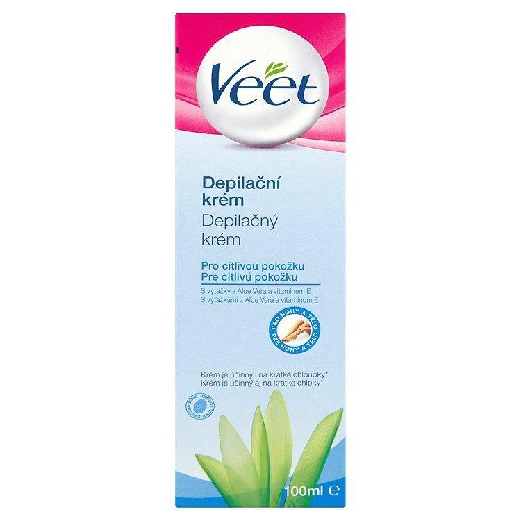 Depilační krém pro citlivou pokožku s aloe vera & vitamínem E pro nohy a tělo 100 ml
