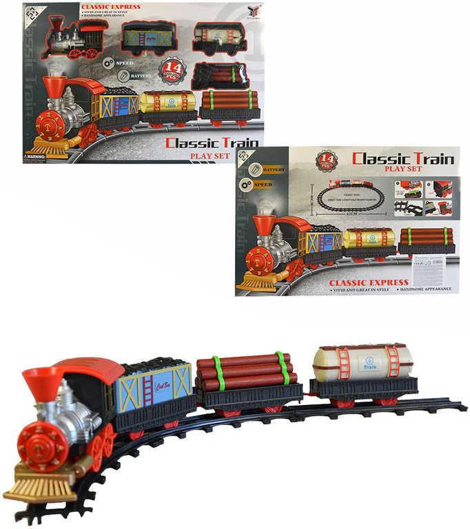 Souprava vlaková set mašinka historická 13cm + vagon 3ks s kolejemi na baterie