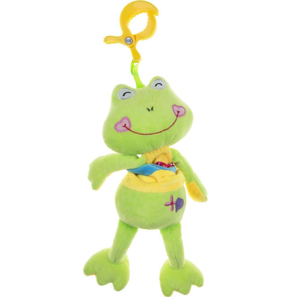 Plyšová hračka s hracím strojkem Akuku žabka - zelená