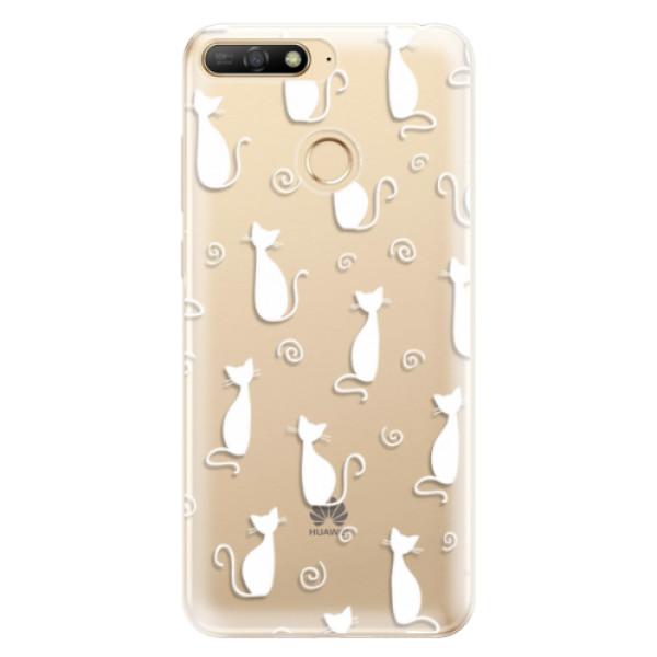 Odolné silikonové pouzdro iSaprio - Cat pattern 05 - white - Huawei Y6 Prime 2018